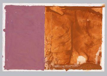 Extrait de série, monotype : rouille, pigments sur papier pressé à chaud 38/50cm 1994