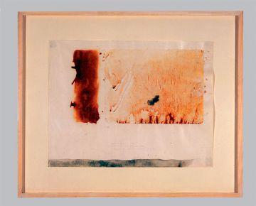 Extrait de série : rouille, encaustique, potassium, pigments, crayon, 74/89cm, 1993