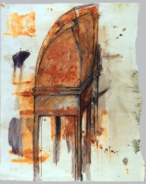 Dessin. Pierre noire, encre, pigments, rouille, potassium sur papier 60 x 45 cm. 1993