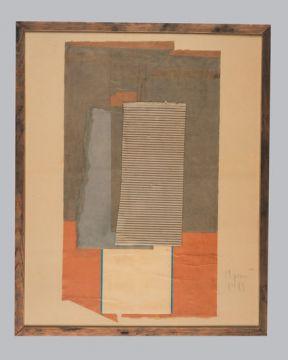 Extrait de série : papiers marouflé sur papier, bois, verre. 83 x 103 cm. 1989