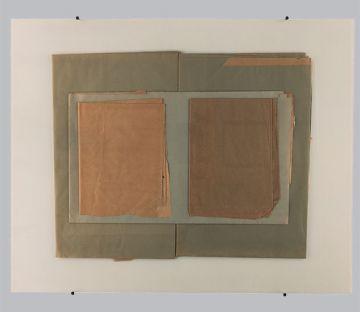 Extrait de série : collages + plaque de verre 80x100 cm 16/12/1989
