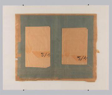 Extrait de série : collages + plaque de verre 80x100 cm