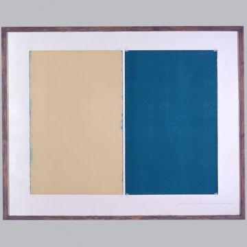 Extrait de série : papiers collés. Bois et verre, recto-verso. 160 x 130 cm. 1992